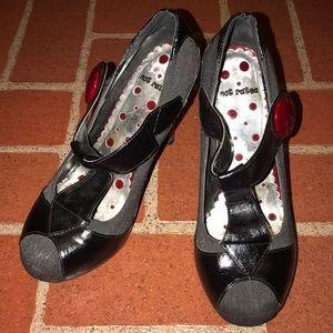 Retro sexy spike T strap heel red, black, grey